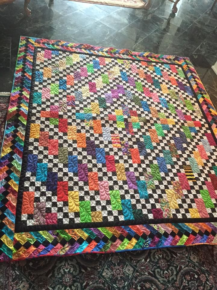 Narragansett Brights, made by Ellene Mashburn Place and posted to Bonnie Hunter's Quiltville Open Studio page on facebook.  Pattern by Bonnie Hunter.