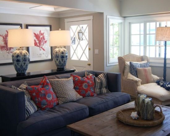 Denim Blue Sofas For Uniquely Timeless Look In Your Living Space Blue Living Room Living Room Orange Blue Sofa Design