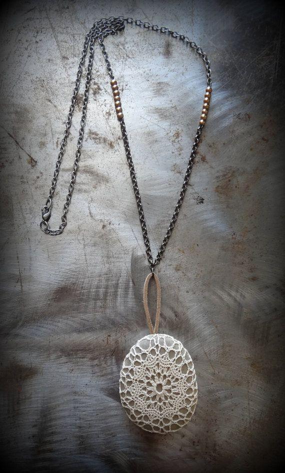 Gehaakte kant stenen ketting handgemaakt gladde steen