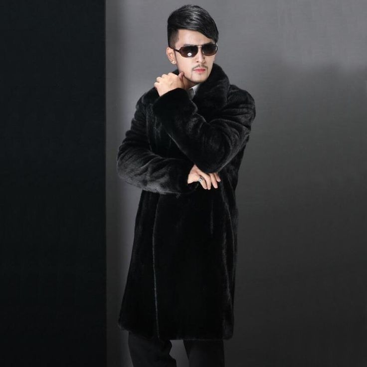 Best sale!2016 new winter fashion men faux fur coat Black long section turn-down collar High-Grade mink overcoat Plus Size S~4XL