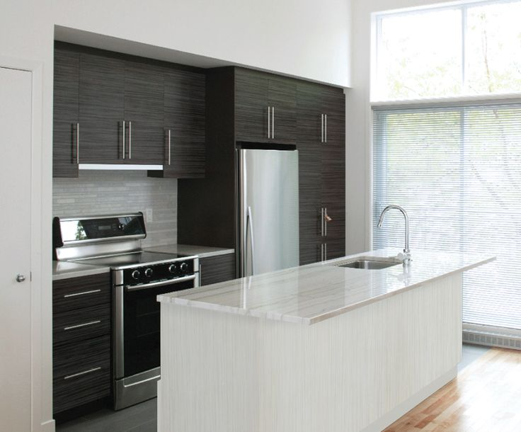 Inspire Black River kitchen (IBR) with Cliffstone island (ICS) - Cabinetsmith Canadian Made Kitchens and Bath manufactured in Barrie Ontario Canada