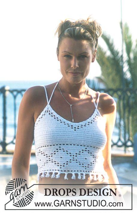 .·:*ßeÁ©]-[Ý`*:·.Summer Top! DROPS Crocheted top in Safran. ~ DROPS Design ☀ CQ #summer #crochet