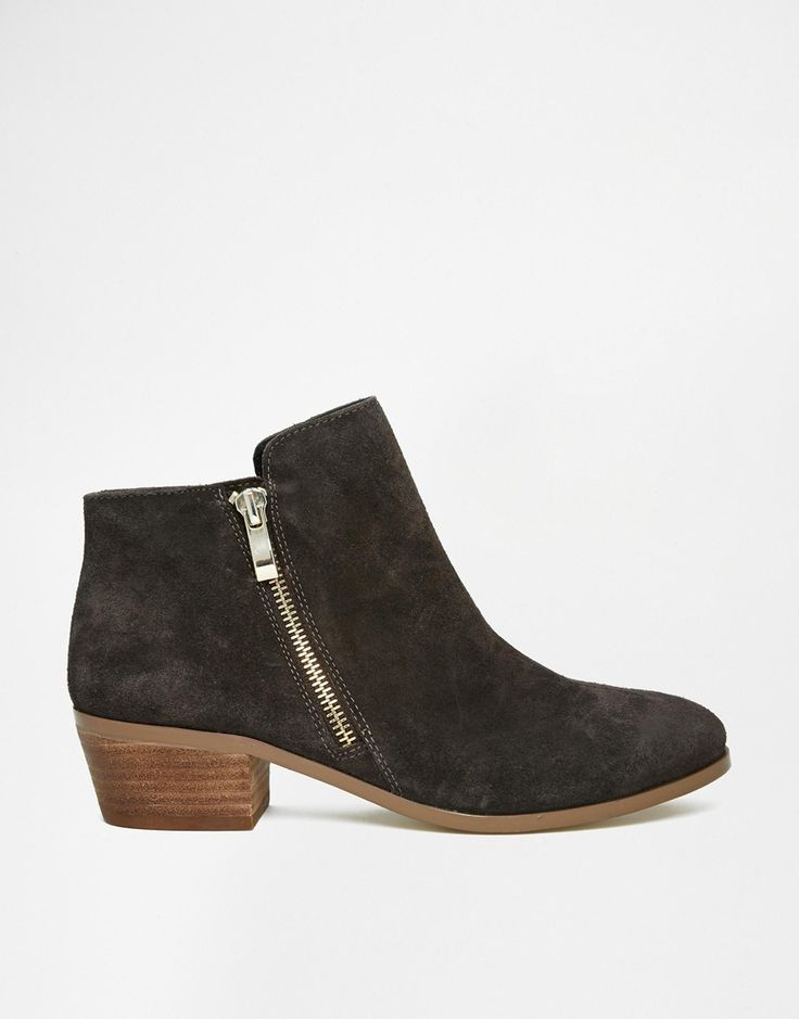 Image 1 of River Island Leather Gray Western Ankle Boots