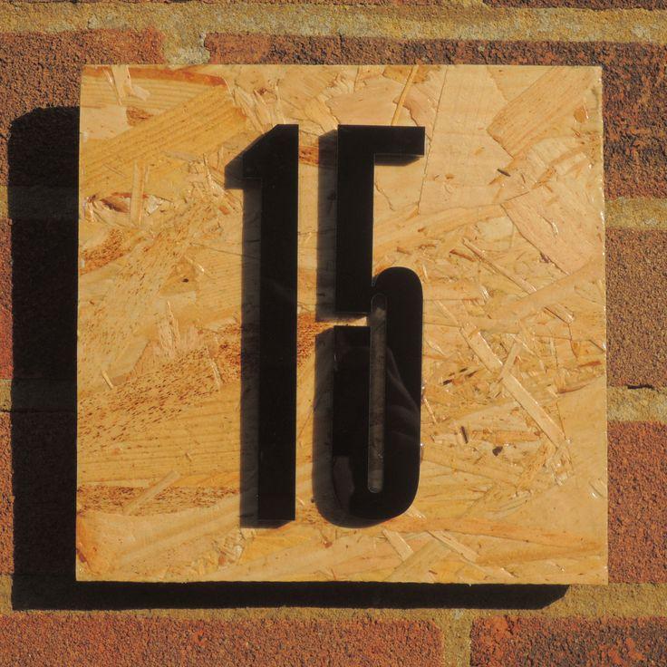 Arne Jacobsen font house number perspex cut-out OSB sterling board denmark design danish copenhagen