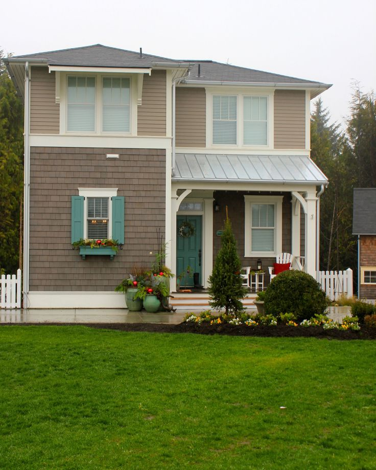 Exterior House Colors: Grey House, Aqua Shutters And Door