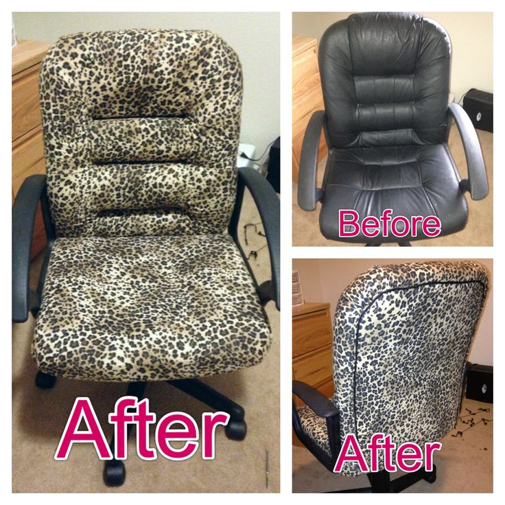Diy updated office chair reupholstered with leopard print