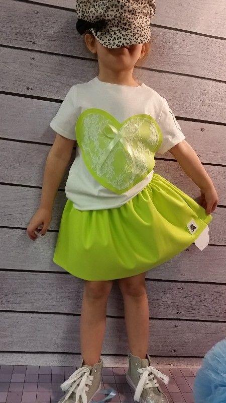 Bluzeczka i spódniczka Voga serce zielona -dziewczynka