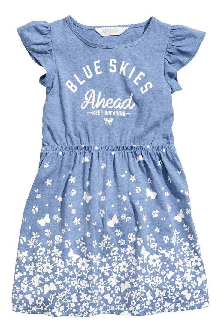Tricot jurk met print - Blauw gemêleerd - KINDEREN | H&M NL