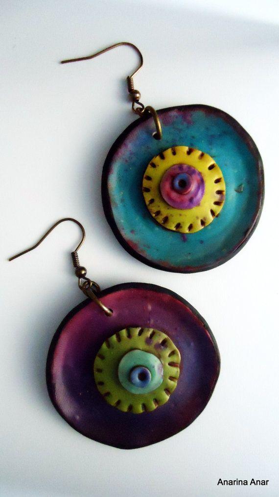 Polymer clay earrings by AnarinaAnar