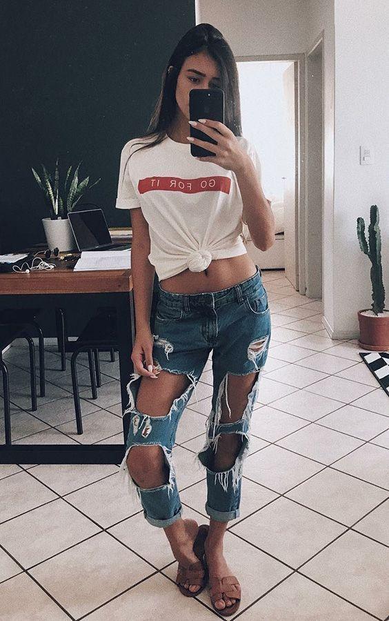 Ideias de looks com Jeans Destroyed