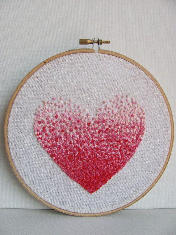 Bordado Fench nudo rosa corazón y tuvieron que ser tú aros