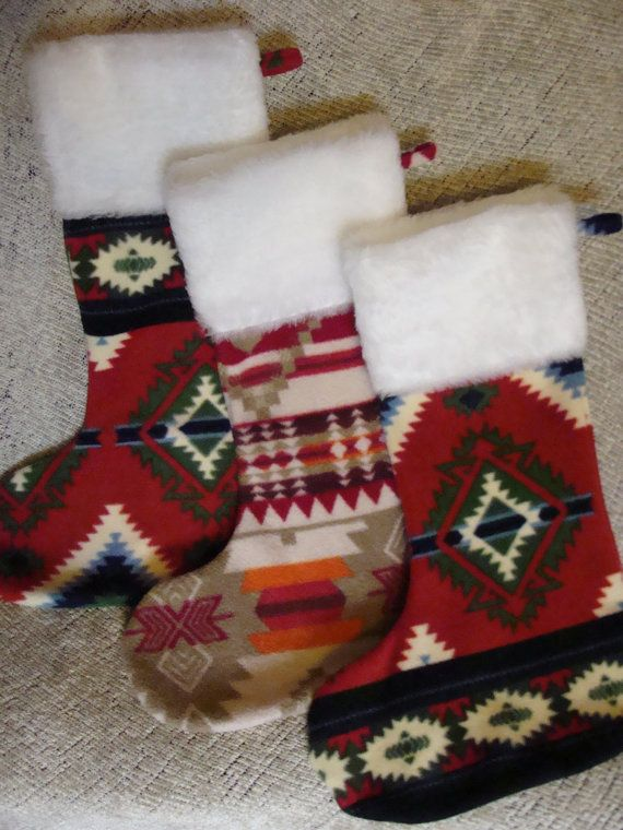 Native American Christmas Stocking  Red and Tan by powwowbaby, $25.00