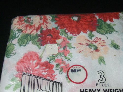 Vintage Plastic Curtains Drapes 50s 60s 3 Pc Red Pink Floral Nos ...