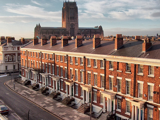 Upper Parliament St looking towards Liverpool Cathedral, Liverpool, UK.