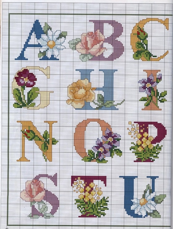lettere con fiori da ricamare
