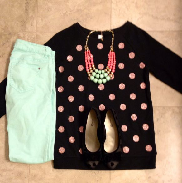ootd \ outfit layout \ teacher clothes \  polka dots \  mint skinny jeans