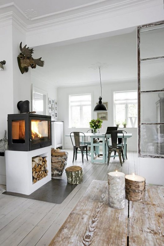 industrial and rustic living room with white washed floor