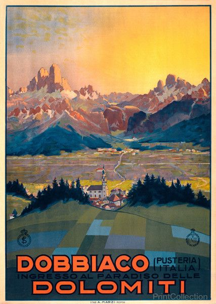 This travel poster shows a view from a hillside in Dobbiaco, Italy. The Dolomite Alps are seen in the distance. It was originally a color lithograph from the 1920s.