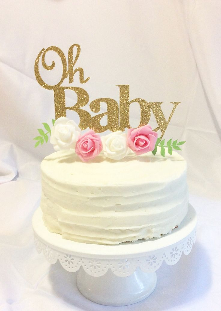 Baby shower cake topper , it's a girl decor, Gold and pink,flower cake topper-baby shower, rose gold and pink, shabby chic,FLOWERS INCLUDED by ToribelleDesignss on Etsy