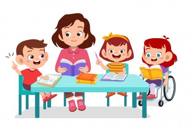 Happy kids studying together with their ... | Premium Vector #Freepik #vector #school | Kids clipart, Cartoon kids, Kids education