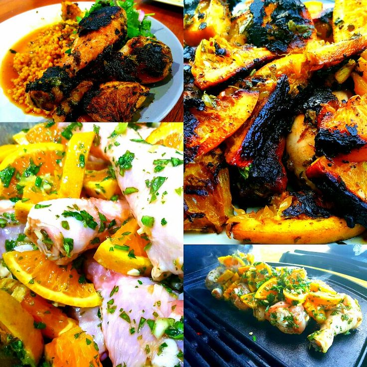 Orange Chicken. Marinate chicken in herbs salt garlic orange olive oil. Cook on weber.