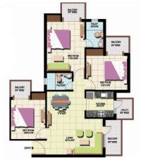 amrapali-leisure-park-2bhk-2t-plan