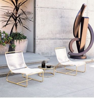 New from Brown Jordan, and available directly through Gump's in San Francisco: a reissue of Walter Lamb's classic midcentury outdoor furniture line. In the mid-1940s, just after WWII, Lamb began experimenting with bronze and copper tubing salvaged from sunken naval ships. The result was a collection defined by its sculptural curves and sturdy construction. Today, the furniture is handcrafted to Lamb's specifications, with weatherproof brass replacing the bronze pipe and nylon rope replacing…