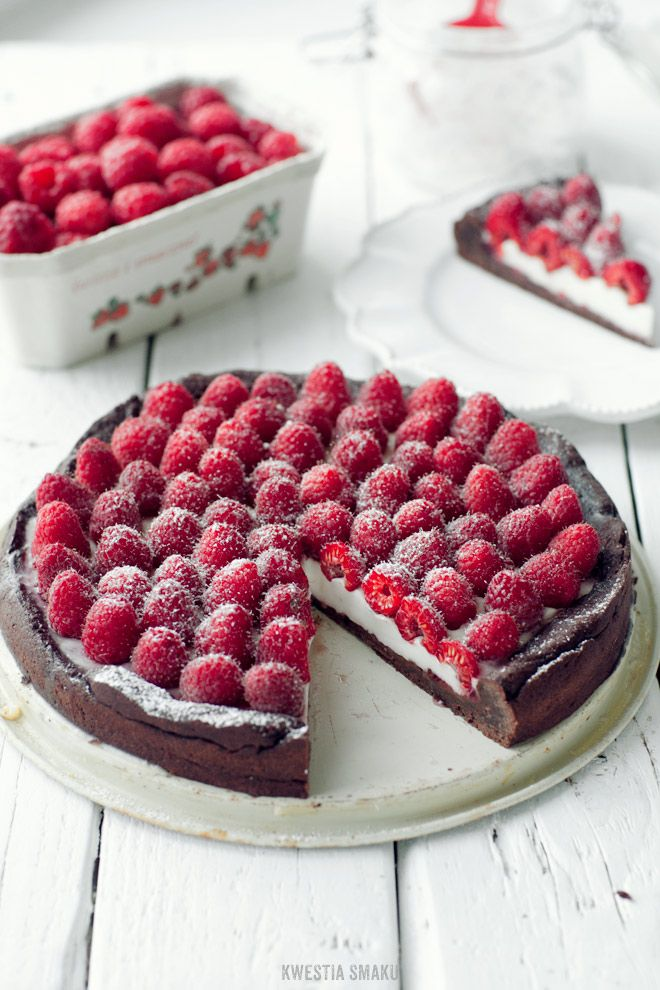 Chocolate Tart with Panna Cotta, Almond and Raspberry Filling