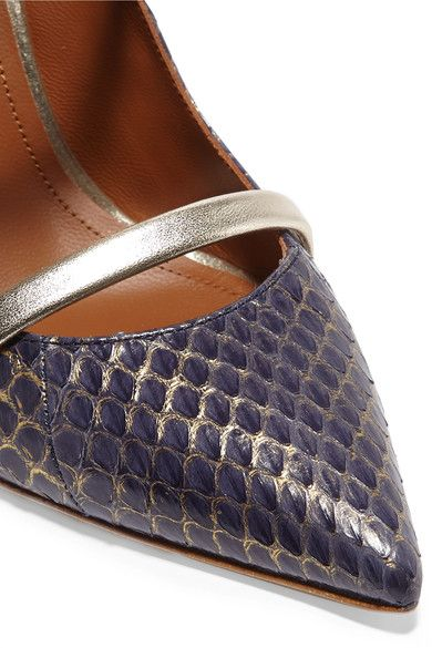 Malone Souliers - Metallic Leather-trimmed Elaphe Pumps - Navy