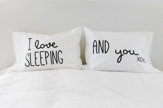 Funny Pillowcases Couples Pillow Cases I Love Sleeping I Love You Christmas Gift for Him Pillowcase Set 300TC Valentines Day Boyfriend Gift