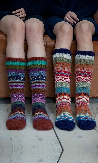 Sherpa socks Richly patterned socks handknitted from vibrant woollen yarn.
