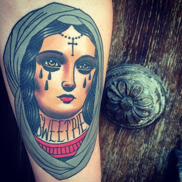 Virgin Mary tattoo by Adrian Edek as featured on Swallows & Daggers