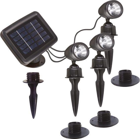Oprawa LED SOLAR- ogrodowa potrójna. Produkt nadający się świetnie dla zapracowanych ludzi, którzy mimo braku wolnego czasu chcą dbać o swój ogród.