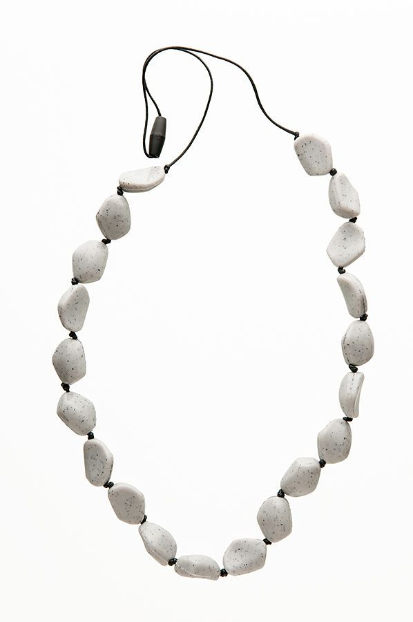 Teething Bling gemstone necklace - safe silicone for chewing. Relief for teething babies and fashion for mum! Order at www.babyteething.com.au