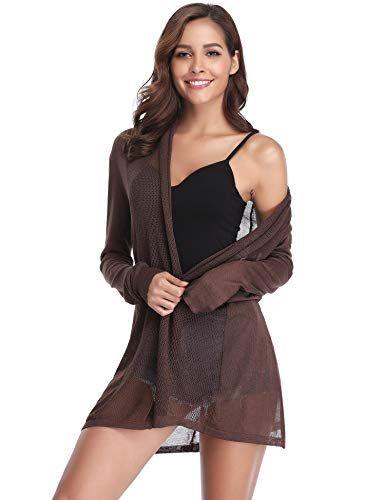Abollria Veste Longue Femme Gilet Femme Leger Crochet Cardigan Long Femme  Lin Manches Longues été Outwear Femme Sexy élégante Tricot O…   outwear  femme ... 5b90f18688be