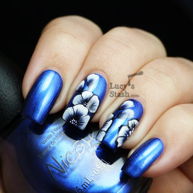Lucy's Stash: One stroke flowers nail art feat. Nicole By OPI What's The Mitch-uation? with TUTORIAL!