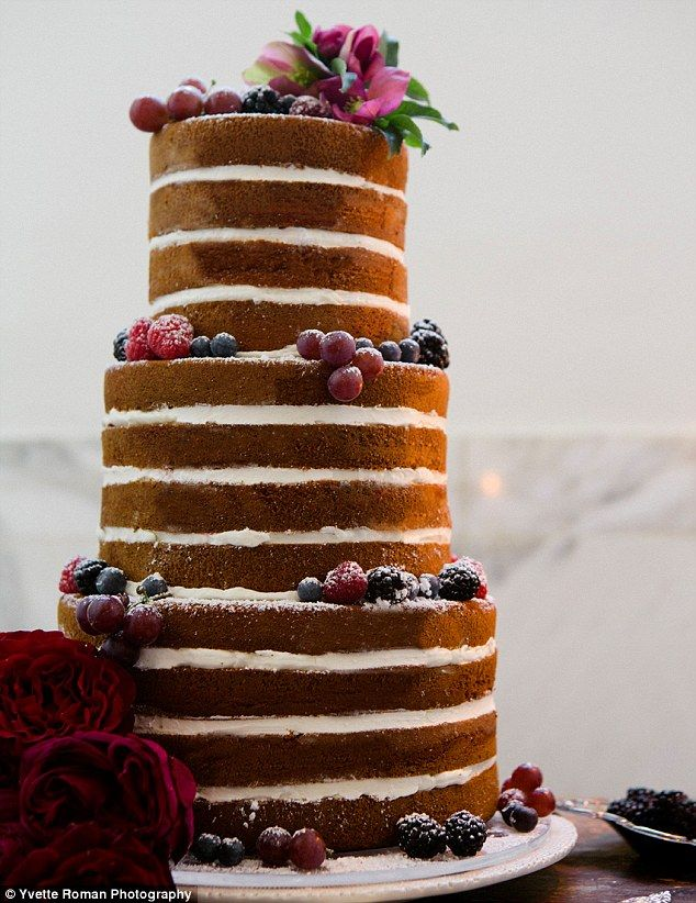 Appealing: Clean lines and powdered fruit add to the aesthetic appeal of this naked lemon cake from Superfine Bakery, filled with raspberry ...