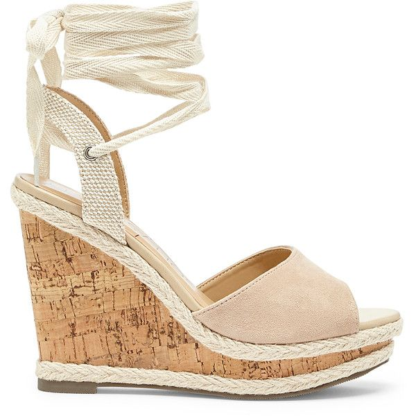 Sole Society Sena Espadrille Wedge ($70) ❤ liked on Polyvore featuring shoes, sandals, light camel, wedge heel sandals, espadrille sandals, wedge sandals, beach sandals and ankle tie wedge sandals