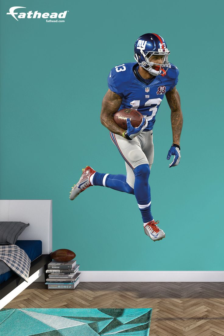 DIY Wall Decals | NFL Sports | A Fathead stays up on its own with a low-tac adhesive that won't damage your walls, making this wall graphic easy to move and reuse. SHOP http://www.fathead.com/nfl/new-york-giants/odell-beckham-jr-wall-decal/ | DIY Bedroom Decor for Boys + Girls | Custom Decals | Peel & Stick | Man Cave | Football