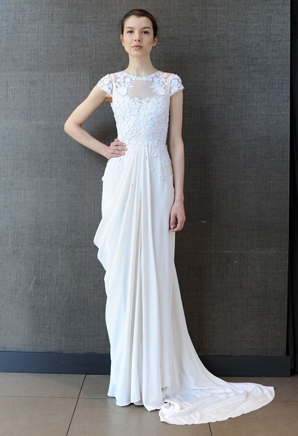 Modern Grecian Draped Wedding Dress | Temperley Bridal Summer 2014  | See More! http://heyweddinglady.com/bridal-market-2015-three-fab-wedding-dress-trends/