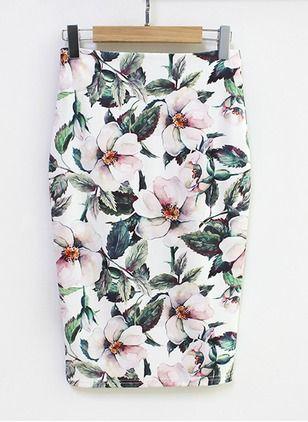 Saias de Poliéster Floral Elegante Longuete