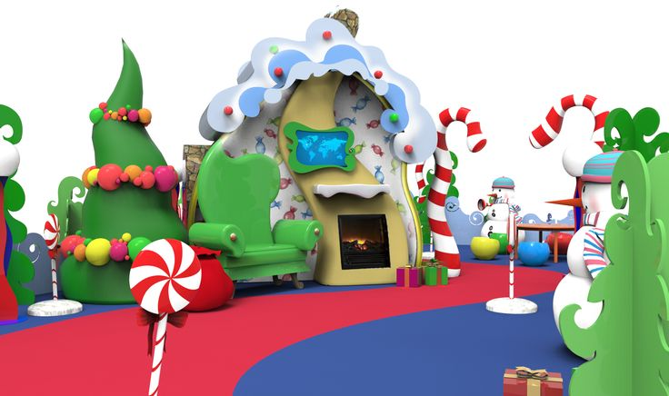 Computer renderings help us plan so that Santa has a big comfy chair, his trusty sack of toys and a cozy fireplace. He's surrounded by fantastic decor which is sure to please parents taking photos! #holidaydecor