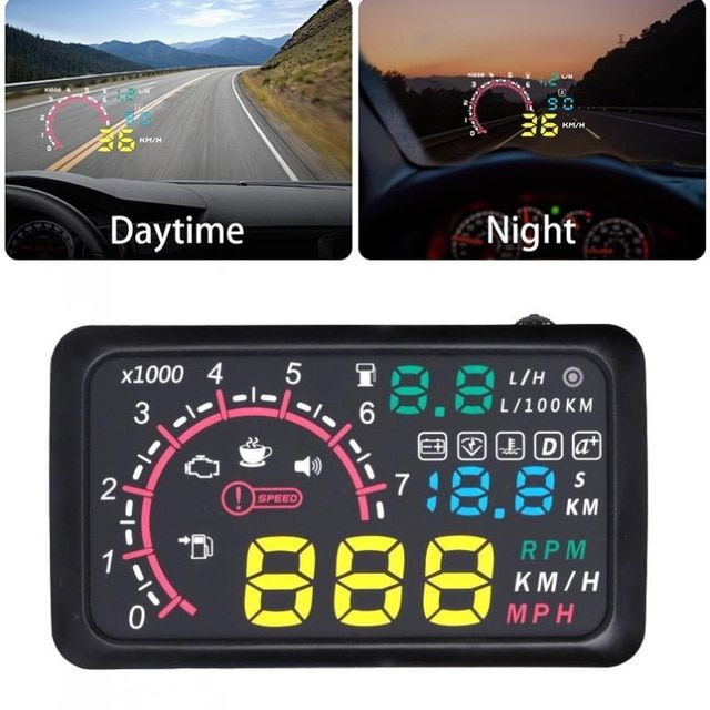 5.5 Inch Auto OBDII OBD2 Port Car Hud Head Up Display KM//h MPH Overspeed Warning Windshield Projector Alarm System