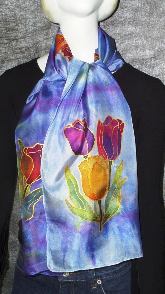 Hand painted silk scarf 14x65 inches. $38 www.mariacsury.com