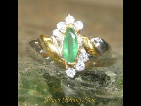 Cincin Euro Fashion Style Silver 925 Marquise Emerald Ring 6US