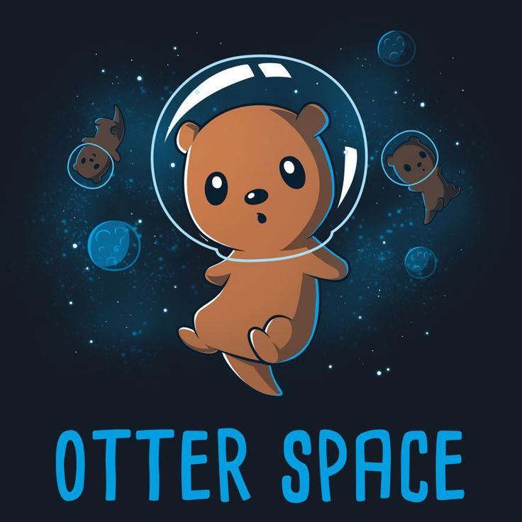 UFO: Unidentified Flying Otter. Get the navy blue Otter Space t-shirt only at TeeTurtle! Exclusive designs on super soft 100% cotton.