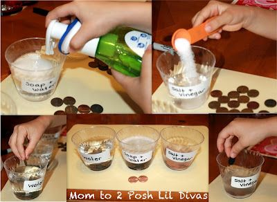 Penny Experiment for Lincoln's Birthday. (Note to self: I think we did this last year, but I am not sure...if we didn't, we need to.): Idea, Posh Lil, Science Experiments, Pennies, Kids Crafts, Kids Science, Penny Experiment, Lil Divas, Mom
