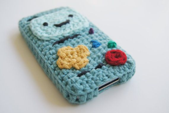iPhone 4 and 5 BMO Adventure Time Crocheted Cover / by LouiesLoops. So clever- not a sleeve but an actual case! I need to figure a pattern for this!