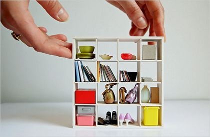 Amazingly adorable open cube bookcase--for a dollhouse!