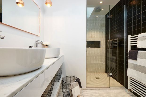 Our Bande Bath Towels & Charcoal Jacquard Face Cloth in Alex & Corban's (The Block NZ's) bathroom makeover!